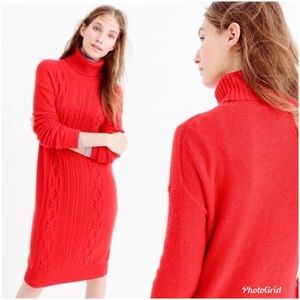 J. Crew Cable Knit Turtleneck Sweater Dress Red XS